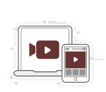 icon of video on computer monitor and phone
